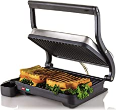 """OVENTE Electric Panini Press Grill, 2-Slice 1000W Heating Plate, 10.2"""" x 6.7"""", Auto Shut Off, Nickel Brushed (GP0620BR)"""