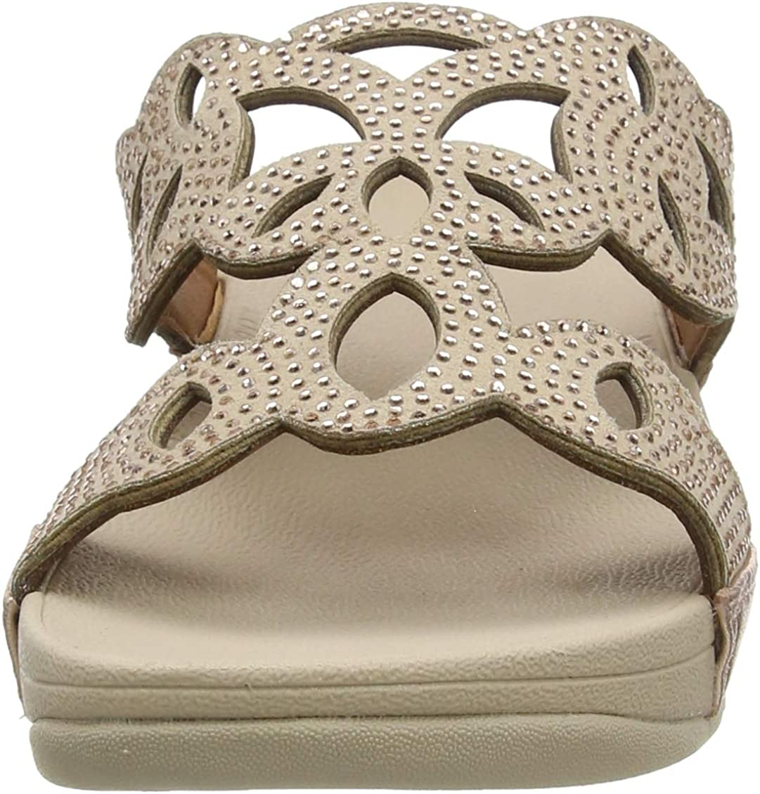 Fitflop Women's Elora Crystal Slides Open Toe Sandals Pink Rose Gold 323