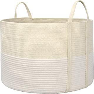 "LA JOLIE MUSE 21"" Large Cotton Rope Storage Basket, Versatile Organization and Storage Solution, Eco-Friendly Storage Bin Organizer, Natural and Safe for Baby and Kids, Beige and White, 21""(D) 13""(H)"