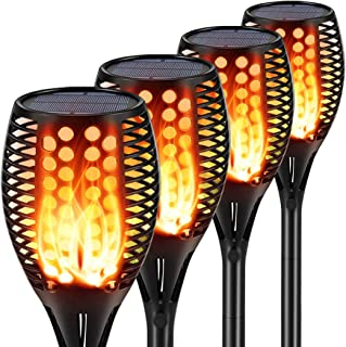 Aityvert Solar Lights Upgraded 42.9 Inch, Solar Flickering Flame Torch Lights Dancing Flames Landscape Decoration Lighting Dusk to Dawn Auto On/Off Outdoor Path Lights for Garden Patio Driveway 4 Pack