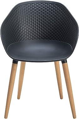 ARMEN LIVING LCIPCHGR Ipanema Outdoor Dining Chair, Black Finish/Wood Legs