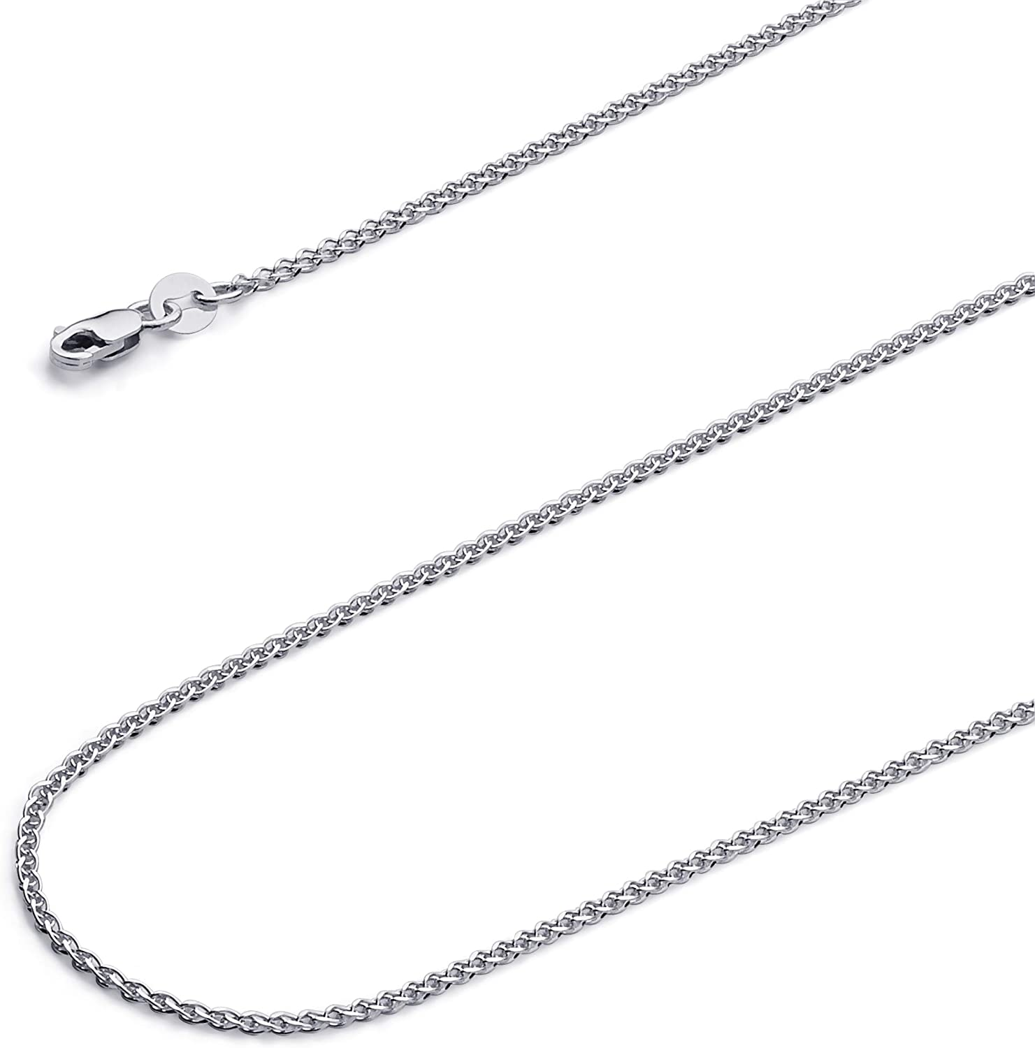 Wellingsale 14k Yellow OR White Gold Brilliant Solid 1.5mm Flat Open wheat Chain Necklace with Lobster Claw Clasp