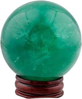 mookaitedecor Natural Crystal Ball with Wood Stand,Healing Crystals Sphere Sculpture Home Decoration(Green Fluorite,1.95