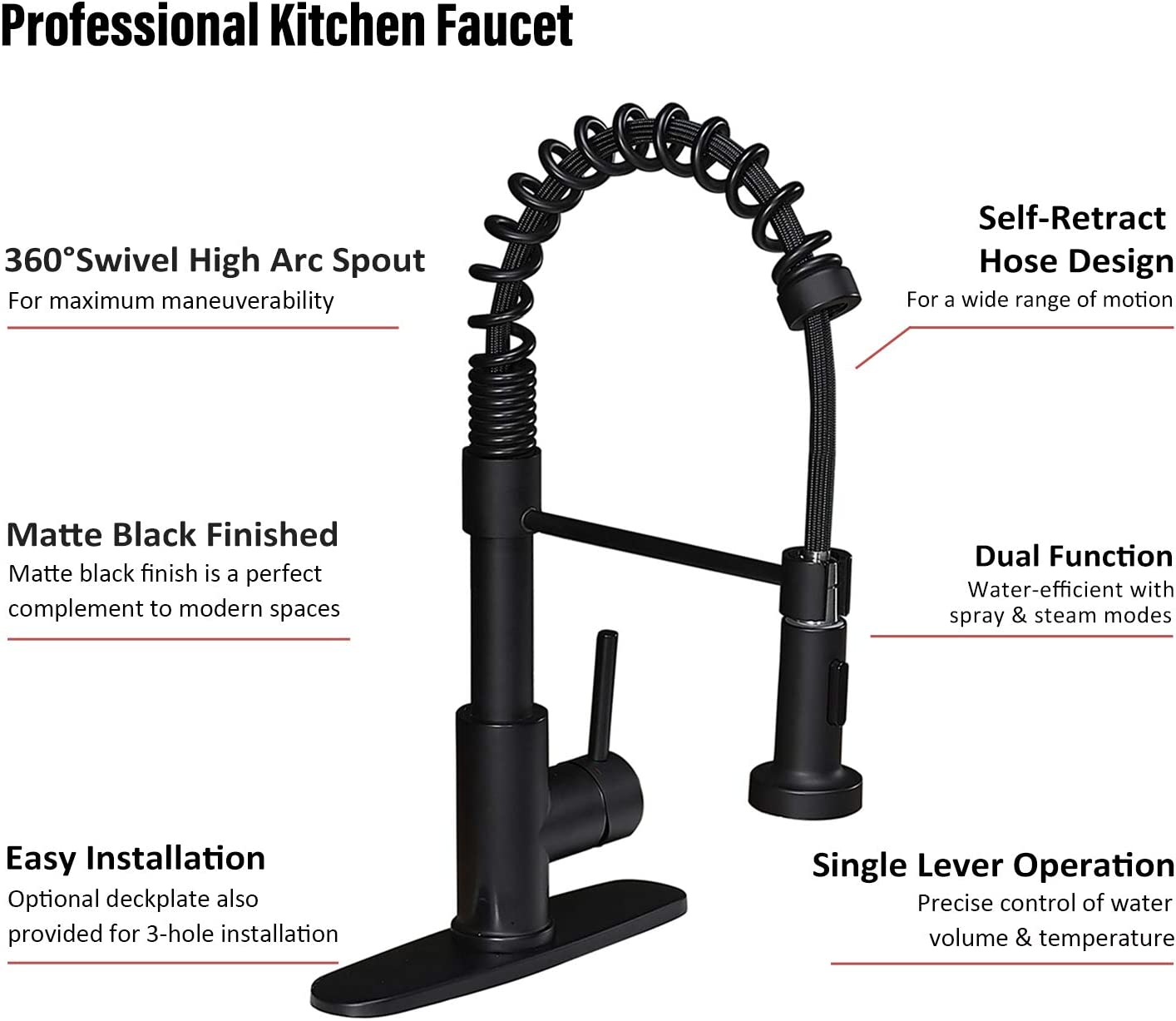 KINFAUCETS Commercial Solid Brass Single Handle Brushe Nickel Pull Down Sprayer Spring Kitchen Faucet with Sprayer 1 Or 3 Hole Kitchen Sink Faucet for Farmhouse Rv Camper Laundry Utility Bar Sinks