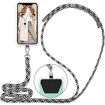 Badge Multifunction Cell Phone Lanyard Necklaces Bead Stainless Steel Chain and Natural Beads Suit for Cell Phone and Keys ID Compatible All Smartphones