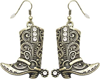 Western Wild West Cowgirl Texas Boots Spur Rodeo Fancy Dress Costume Dangle Earrings