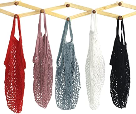 5 Pack Portable Reusable Mesh Cotton Net String Bag Organizer Shopping Tote Handbag Fruit Storage Shopper