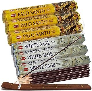 عودهای سفید مریم گلی و چوب عود Palo Santo با بسته نرم افزاری نگهدارنده بخور برای لک زدن و عطر خانگی