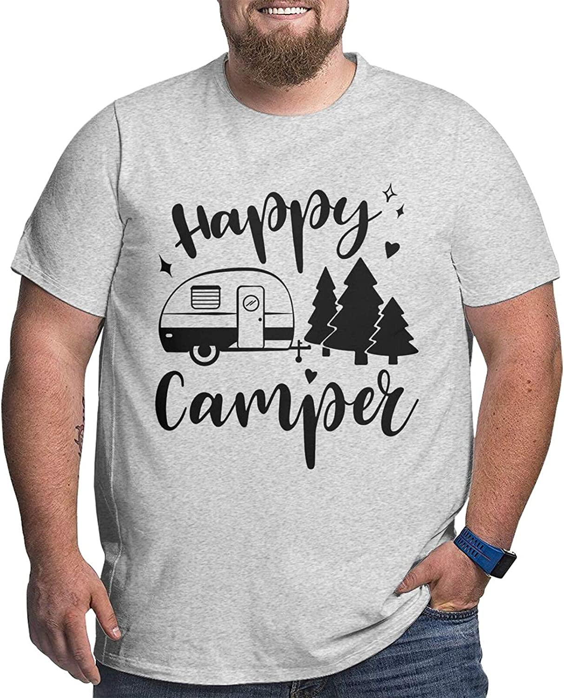 Happy Camper Mans Simple Big Size Summer Outdoor Short Sleeve Round Collar Tee