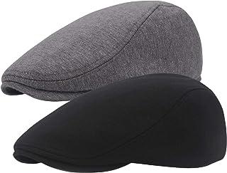 2 Pack Newsboy Hats for Men, Cotton Flat Ivy Gatsby Driving Hat Cap