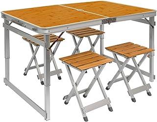 AMANKA Mesa para Acampada pícnic 110x70x70cm Altura Regulable Incl 4 Taburetes Plegable portátil DM Color de Madera