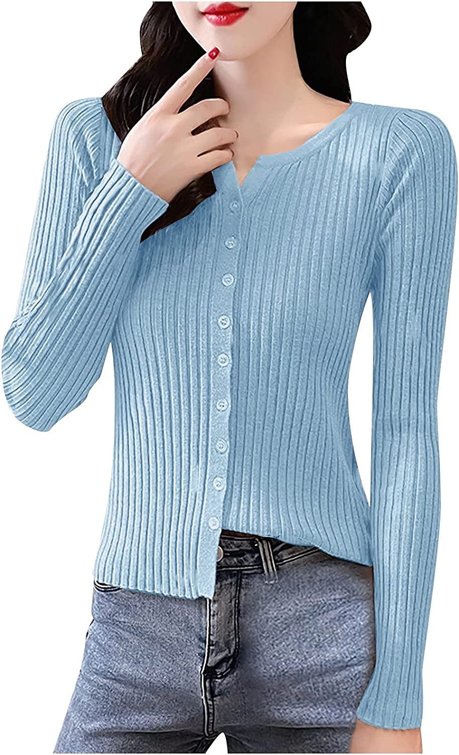 A2A Womens Button Down Knitted Pullover Henley Crew Neck Sweaters Fall Long Sleeves Sweater Solid Color Knitted Cardigan
