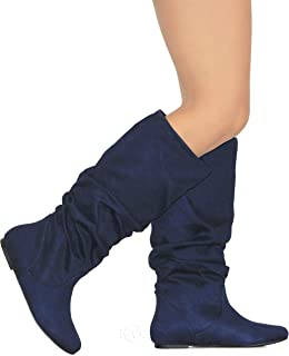 MVE Shoes Womens Stylish Soda Comfortable Faux Suede Slouch Knee High Boots