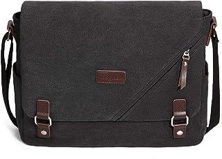 ibagbar Canvas Laptop Messenger Bags 14 Inch Crossbody Shoulder Bag Computer Bags with Padded Sleeves Vintage Satchel College School Bag Bookbag Sling Working Bag for Men and Women Light Black