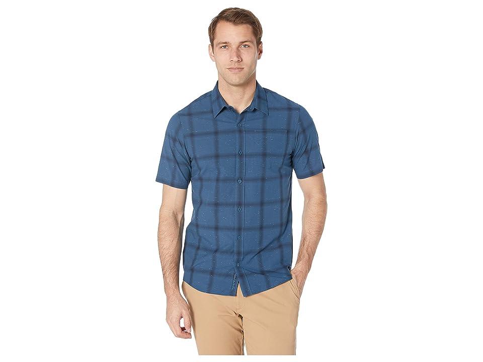 TravisMathew Ruelas Woven Shirt (Heather Blue Wing Teal) Men