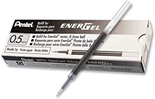 Pentel Refill Ink for EnerGel Liquid Gel Pen, 0.5mm, Needle Tip, Black Ink, Box of 12 (LRN5-A-12)