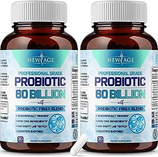 Probiotics 60 Billion CFU with Prebiotic Formula- 2 Pack - Probiotics for Women and Men and Adults, 100% Natural Digestive...