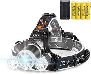 LED Headlamp Flashlight,10000 Lumens Waterproof 4 Modes Bright Headlight,with 4PCS 3.7V 9800mAh Rechargeable Battery + Batteries Charger for Cycling Camping Running Fishing