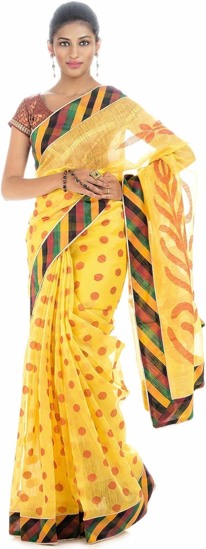 Rajarams Yellow colord Polka Printed Handloom Pure Linen Saree.