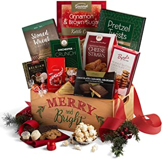 2019 Christmas Basket of Gourmet Holiday Gifts - Wooden Christmas Gift Crate of Truffles, Chocolates, Popcorn, Cookies, Cheese and Crackers