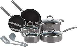 Amazon Basics Ceramic Non-Stick 12-Piece Cookware Set, Grey - Pots, Pans and Utensils