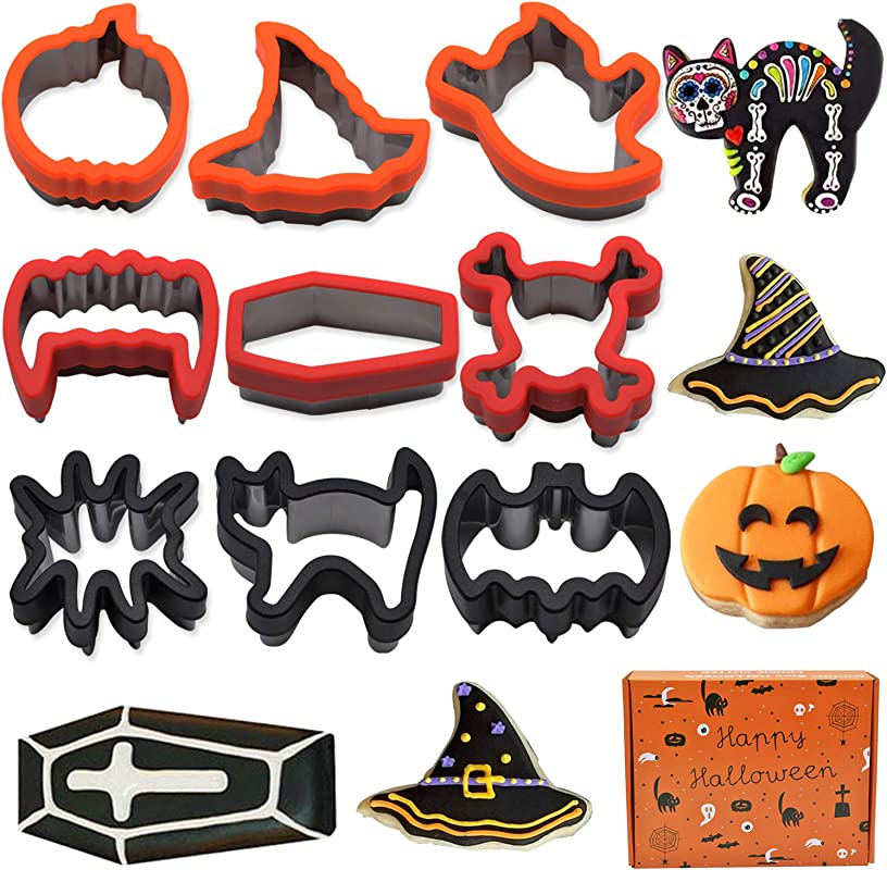 JoinBo 9 Pieces Stainless Steel Halloween Cookie Cutters For Halloween Cookies With Vampire Teeth Skeleton Coffin Cat Spider Bat Pumpkin Witch S Hat And Ghost Cookie Cutter