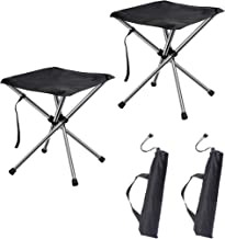 Beach Camping chiitek Portable Camping Stools 2Packs Foldable Chairs Extra-Light Weight Unfold Size 12.612.613.8inches Easy to Carry to Hiking Fishing and Other Outdoor Activities