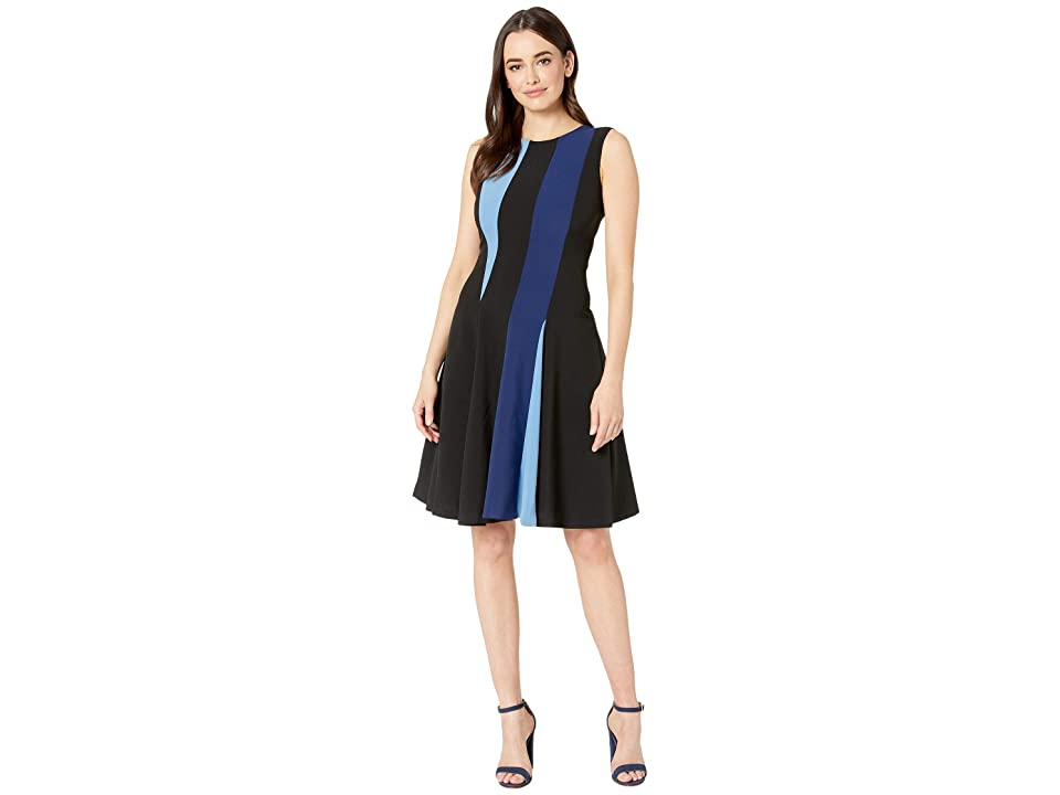 Taylor Sleeveless Color Block Dress (Black/Navy/French Blue) Women