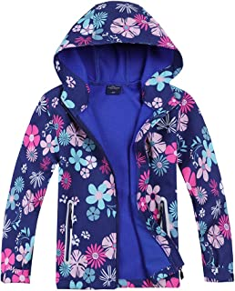Boys Girls Rain Jacket Waterproof Coat Raincoat Hooded Light Windbreaker for Camping Hiking