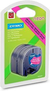 DYMO s0721660标签带 (LetraTag - 标签 iergeraete, 塑料, 12毫米, 4 - 米 - 卷) 黑白色 Kunststoff Schwarz auf Neon Pink und Neon Grün