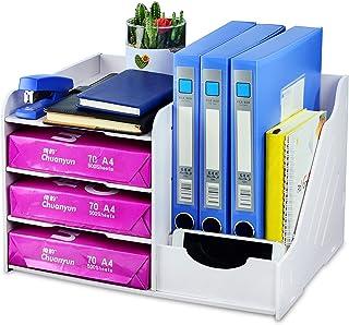 BQKOZFIN 書類入れ 卓上収納ラック 4段 ファイルラック 書類ホルダー 書類トレー 新聞/雑誌/A4ファイル/フォルダー オフィス リビング収納 文房具 収納