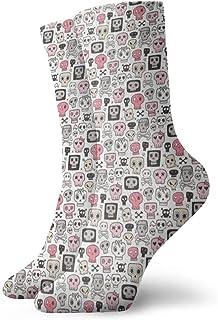 ピンクの小さなファッショナブルなカラフルなファンキー柄の綿のドレスソックスの頭蓋骨11.8インチ