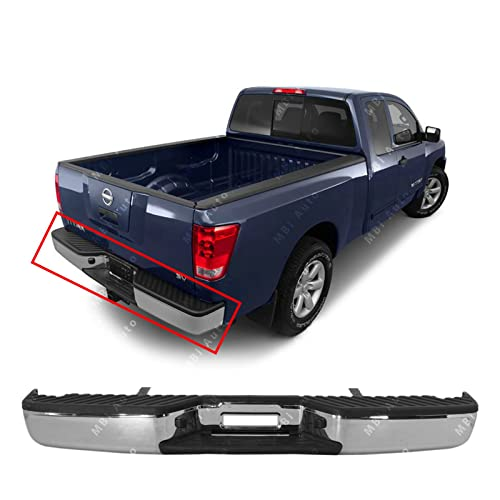 MBI AUTO - Chrome, Steel Rear Bumper Complete Assembly for 2004-2015 Nissan Titan