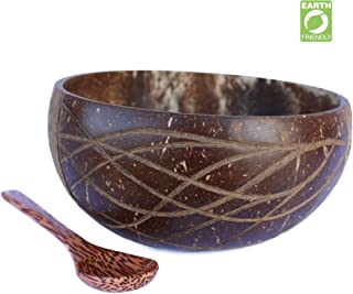 VYNEC Coconut Bowl, EKO-Friendly All-Time Use Large Coconut Bowl Set With Wooden Spoon Supporting Charity 1$Per Purchase HANDMADE Unique Quality - Traditional Vietnamese Art by Local Artisans