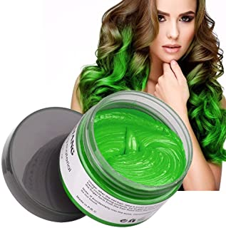 Hair Coloring Wax, Disposable MOFAJANG Instant Matte Hairstyle Mud Cream Hair Pomades for Kids Men Women to Cosplay Nightclub Masquerade Transformation (A - Green)