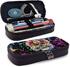 Hand Drawn Indian Skull Large Capacity Student Pencil Case Portable Pouch Pen Case Multifunction Pencil Case with Double Zipper Storage Organizer Black