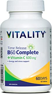 VITALITY Time Release B60 Complete + Vitamin C 600mg | B-Complex | Boosts Energy | Mood Support | Vegan | One-A-Day | 60 Tablets