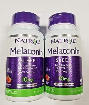 Natrol Fast Dissolve Melatonin Tablets 10 mg, Citrus Punch 60 ea (Pack of 2)