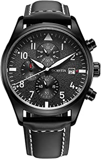 OCHSTIN 3ATM Water Resistant Fashion Analog Watch Luxury Genuine Leather Strap Trendy Quartz Man Wristwatch with Calendar