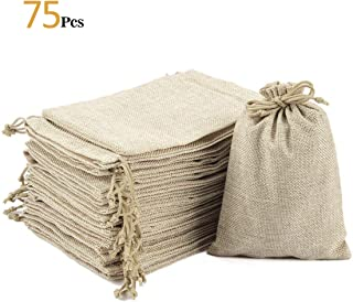 ANPHSIN 75 Pieces Small Burlap Bags with Drawstring, 5.43x3.74 inch Burlap Gift Bag Jewelry Mini Pouches for Wedding Favors, Party, DIY Craft and Christmas