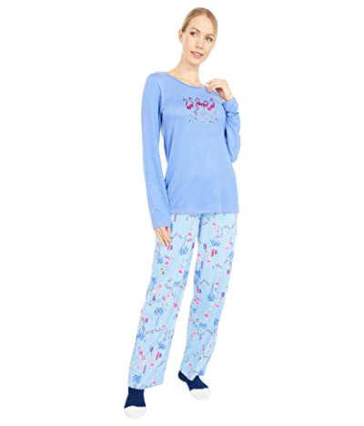 HUE Frosty Flamingos Knit PJ Set with Socks (Wedgewood) Women