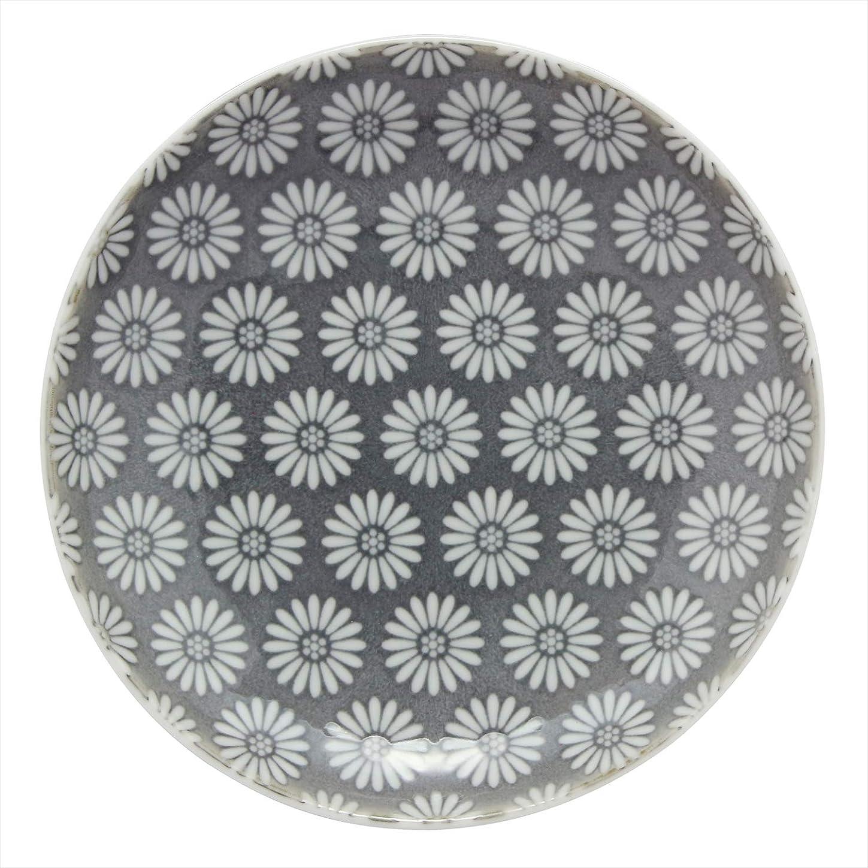 歌手従事する悲観的光和陶器 中皿 グレー 15.3cm 波佐見焼 和小紋 取皿 小花