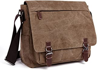 LOSMILE Laptop Messenger Bags, Men's Shoulder Bag, 16 Inches Vintage Canvas Bag for School and Work, Multiple Pocket. (Coffee)