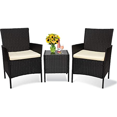 Patio Furniture Set 3 Piece Balcony Patio Set,Outdoor Rattan Conversation Set, PE Rattan Outdoor Furniture Set with Coffee Table, Chairs & Cushions, for Porch Garden Poolside (Black Rattan, Khaki)