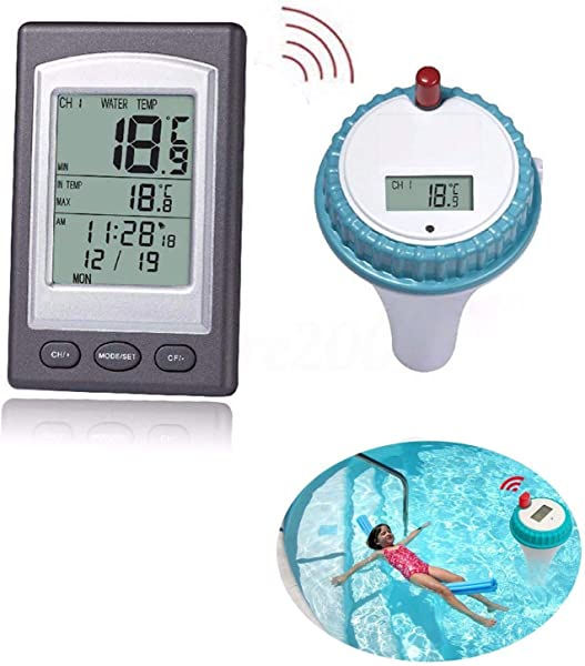 Pool Thermometer Wireless Floating Water Thermometers And Spa Thermometer With Digital LCD Display For Outfoor Indoor Swimming Pools Spas Hot Tubs Ponds