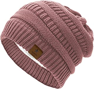 Womens Knit Beanie Winter Thick Solid Fleece Lined Beanie...