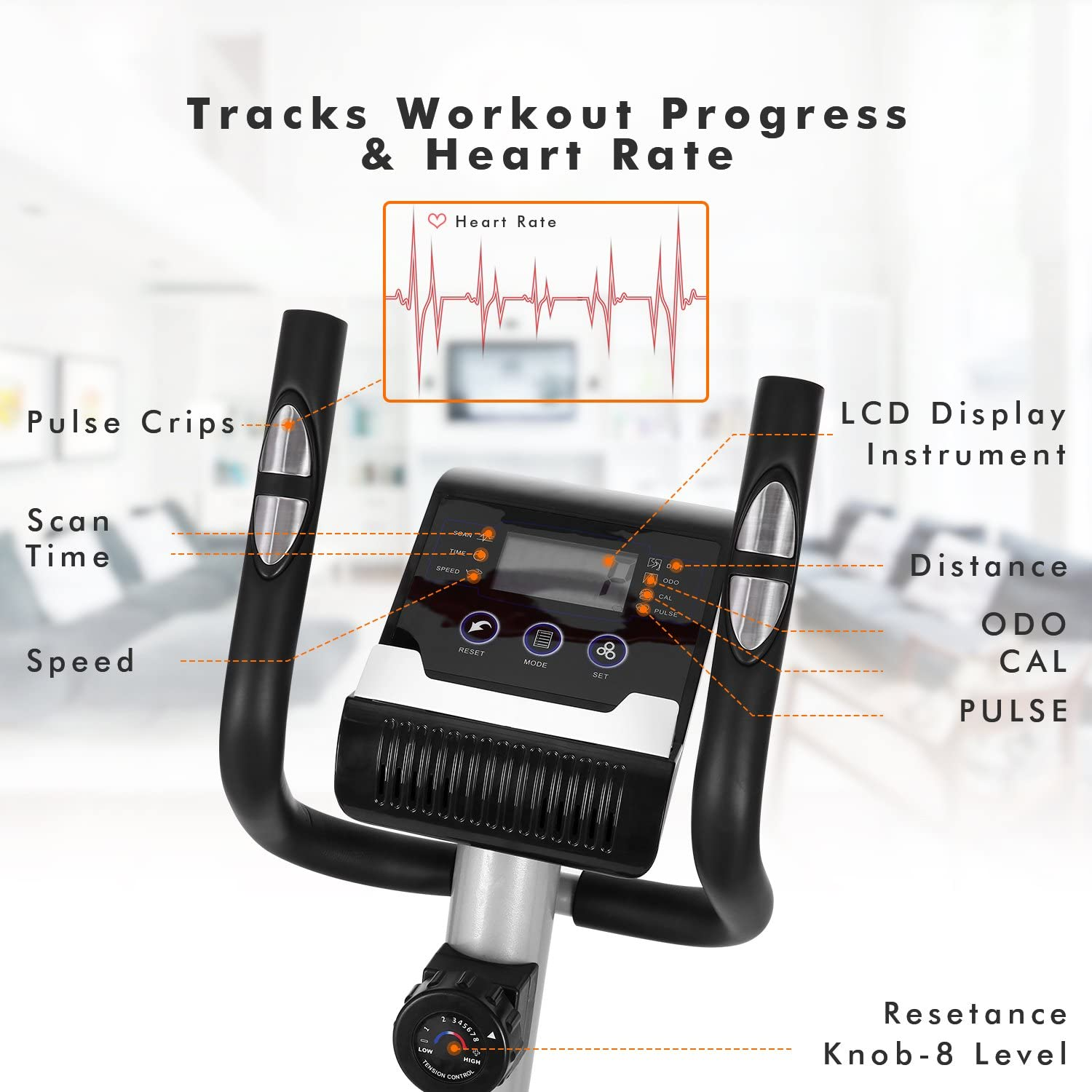 Fast88 Elliptical Machine Fitness Workout Cardio Training Machine Magnetic Control Mute Elliptical Trainer with LCD Monitor