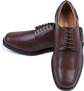 Men's Leather Dress Shoes Square Toe Lace up Oxfords