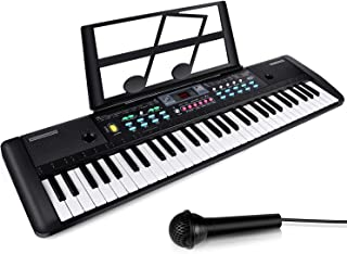 ZJTL 61-Key Digital Electric Piano Keyboard & Music Stand & microphone- Portable Electronic