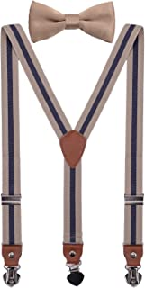 SUNNYTREE Men's Boys' Suspenders Adjustable Y Back with Bow Tie Set for Wedding Party